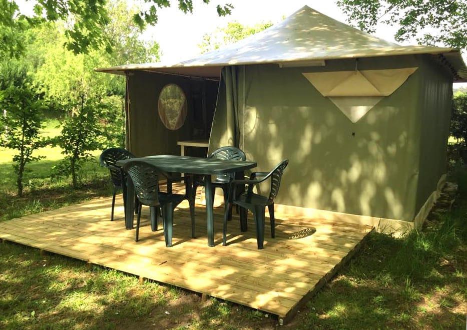 Extérieur Bungalow Toilé Muscade 2 chambres | Camping Chapelains Drome