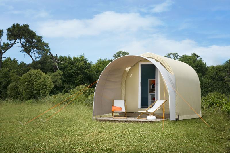 Extérieur Coco Sweet mobil home 1 chambre terrasse climatisation | Camping Chapelains Drome