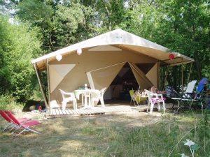 Tente Lodge nature Canada 2 chambres | Camping Chapelains Drome