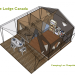 Plan Tente Lodge nature Canada 2 chambres | Camping Chapelains Drome