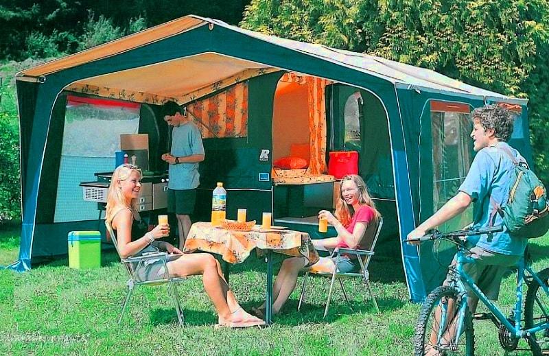 Extérieur Caravane Pliante Vintage 2 chambres | Camping Chapelains Drome