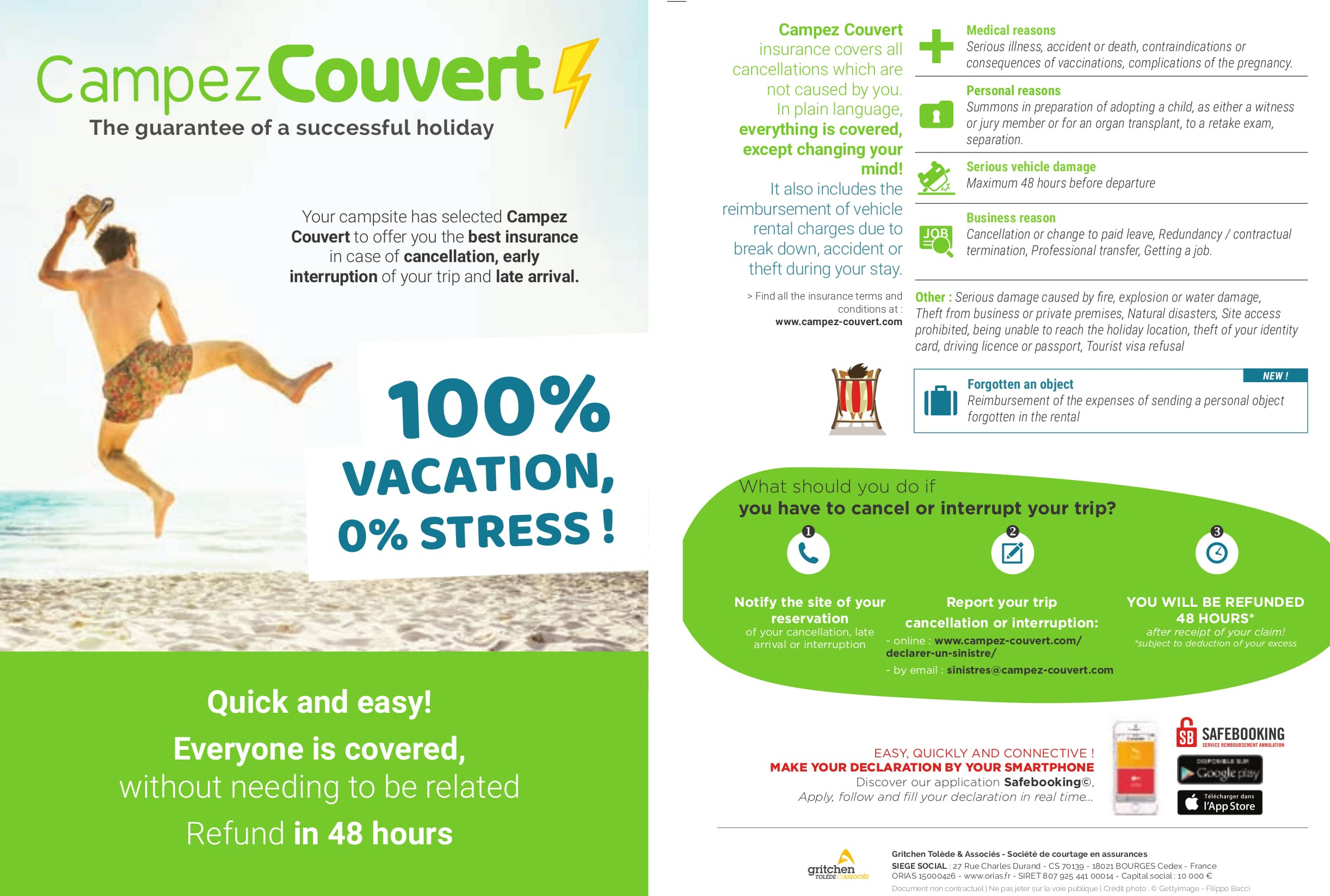 Campez Couvert cancellation insurance General Conditions