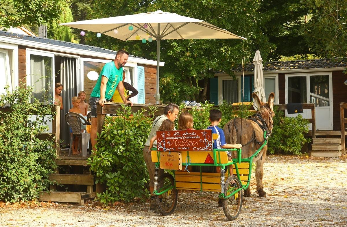 Ramassahge compost Mul'ânes Camping Les Chapelainsà Saillans en bio-vallée de la Drôme