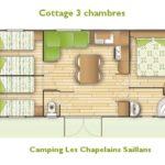 Alle comfort airco Cottage stacaravan 3 slaapkamers | Camping Chapelains Drome rivier